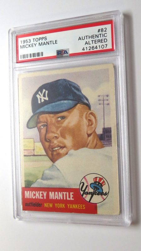 1953 Topps Mickey Mantle, slabbed; a highly desirable card in the sport card collection hobby field.